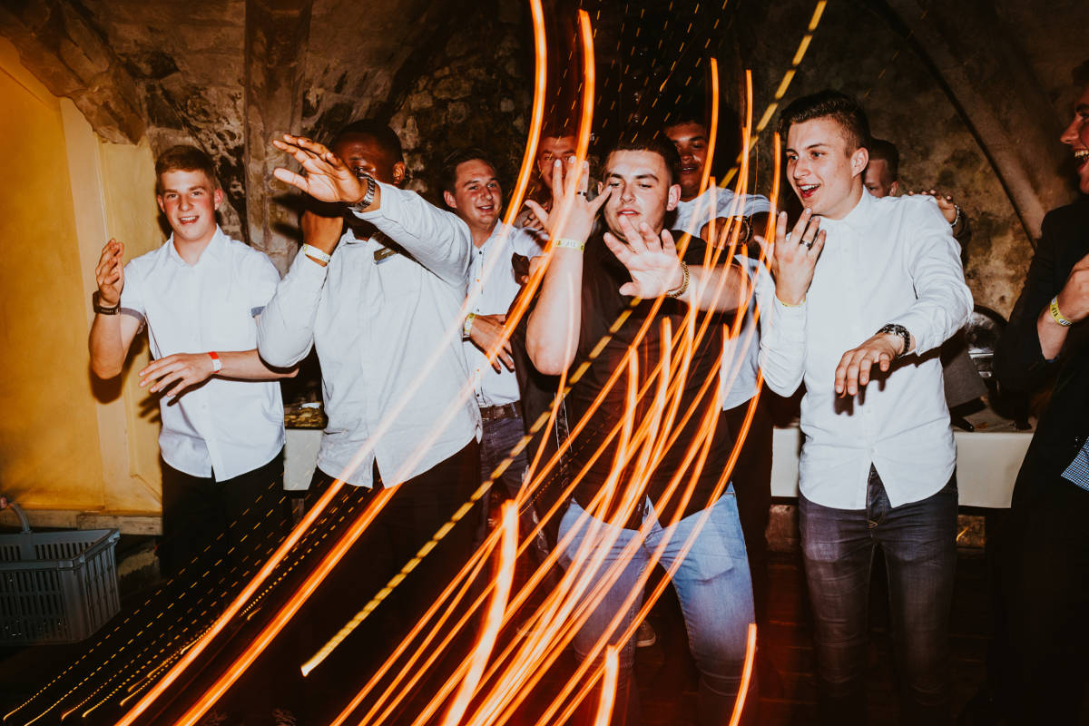 Photographing dance floor light trails